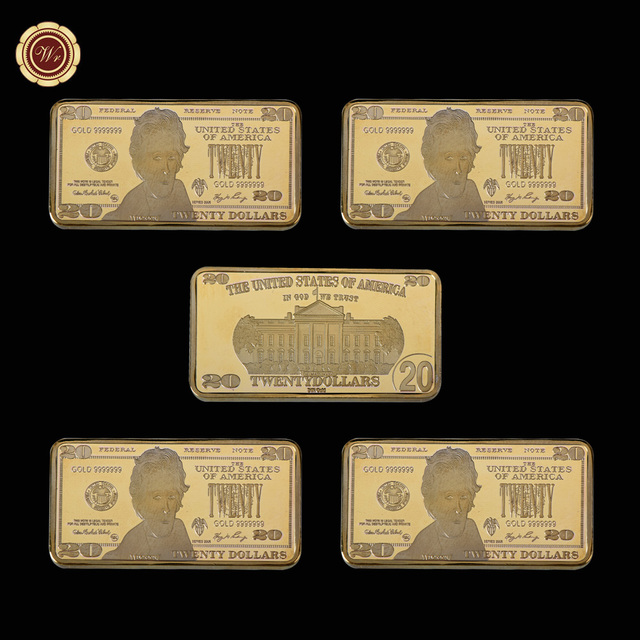 Wr 20 Dollar American Fake Money 24k Gold Bar Creative Business Souvenir Gifts Usd Metal