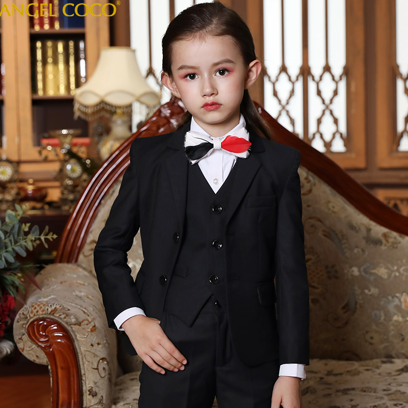 Us 79 2 20 Off Designer Girls S Suits For Weddings Shirt Vest Trousers Bow Tie 5 Piece Children S Suits Women S Fashion Autumn Costume Fille In