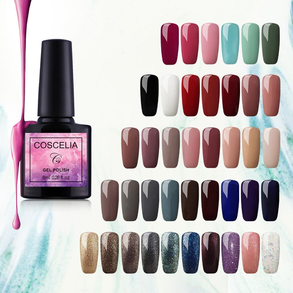 COSCELIA Gel Polish Varnish Nail Art For Manicure UV Colors Vernis Semi Permanent Hybrid Nail Polish Set Gel Top Primer