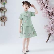 Belle Ragazze Cheong sam 2PC Cinese Tradizionale Stile di Han Fu Bambino Retro Vestito Da Estate Dei Bambini Casual di Cotone di Tela abiti