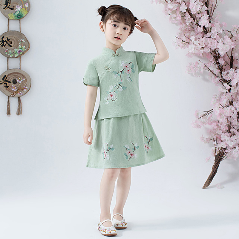 Lovely Girls Cheong-sam 2PC Chinese Traditional Style Han Fu Baby Retro Dress Children Summer Casual Cotton Linen Dresses