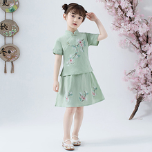 Lovely Girls Cheong sam 2PC Chinese Traditional Style Han Fu Baby Retro Dress Children Summer Casual Cotton Linen Dresses