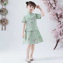 Vestido cheongsam de 2 piezas estilo chino tradicional, Retro, de lino y algodón, informal, para verano