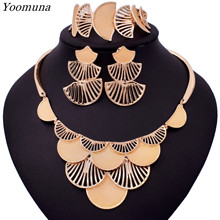 High quality Dubai jewelry Sets Women nigerian beaded jewelry set design african gold jewelry necklace sets for women(China)