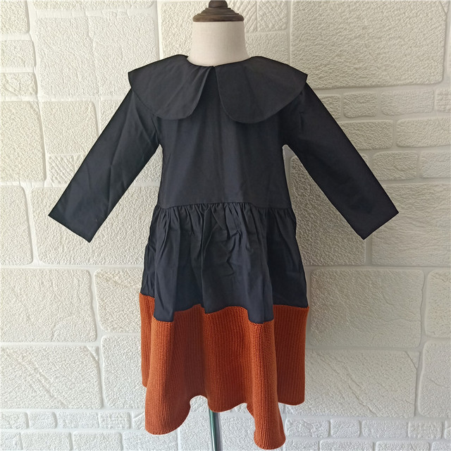 Bobozone Black Brown Patchwork Dress For Kids Girls Long Sleeve