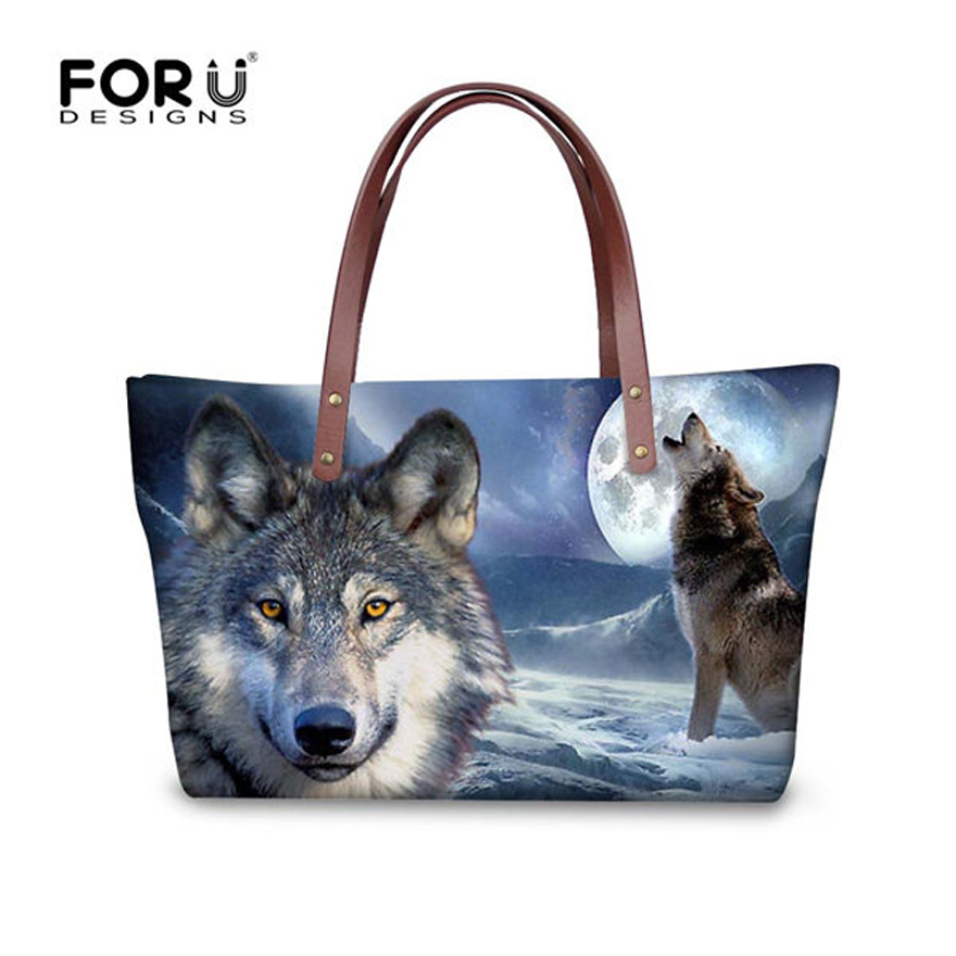 FORUDESIGNS Women Shoulder Bags Moon Light Wolf Dog Casual Womens Handbags Designer Famous Brands Ladies Top-handle Female Bags