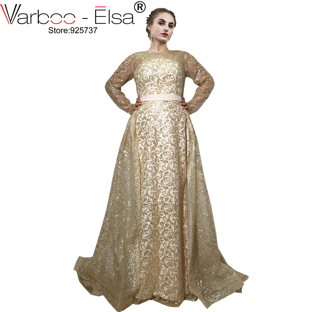 VARBOO ELSA 2018 Glitter Luxury Evening Dress Gold Sequined Moveable Train  Long Prom Dress Arabic Special Occasions Party Gown d1b49f60baaf