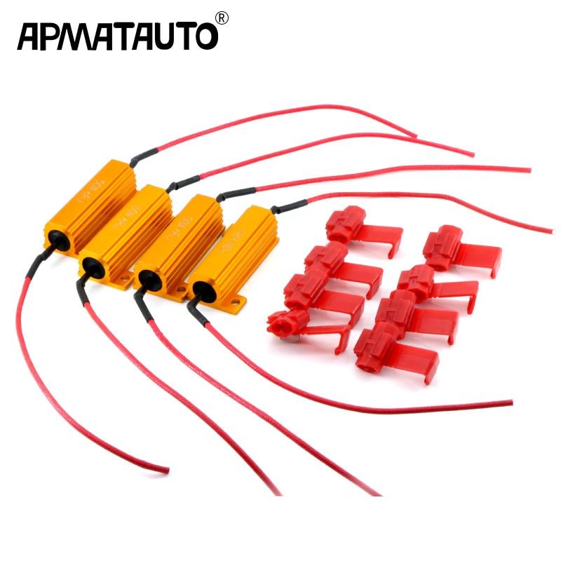 4X 50W LED Bulb Brake Turn Signal Light Fog Lamp Load Resistor Fix Error Fast Flash 7443 W21W 7440 P21/5W 1157 P21W 1156 PY21W