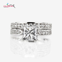 COLORFISH 2 PC Genuine 925 Sterling Silver Wedding Ring Sets 1.5 Ct Radiant Cut Solitaire Engagement Ring For Women Jewelry Gift