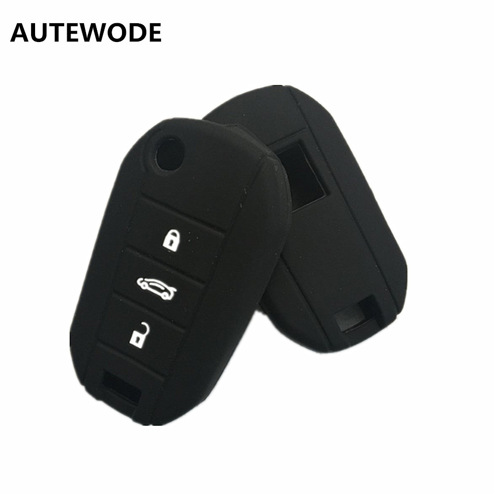 AUTEWODE 3 Button Silicone Rubber Car <font><b>Key</b></font> Case for <font><b>Peugeot</b></font> <font><b>3008</b></font> 208 308 508 408 2008 Protector Cover Holder <font><b>Skin</b></font> image