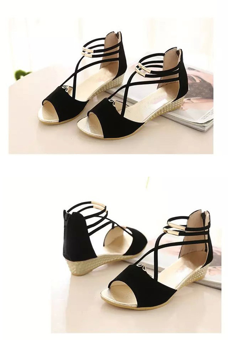 HTB1lK12aoLrK1Rjy1zbq6AenFXaN Peep toe Sandals Women Summer Shoes 2019 Women Wedges Sandals Fashion Summer Ladies Wedge Shoes Woman Sandal Black Red Blue A679