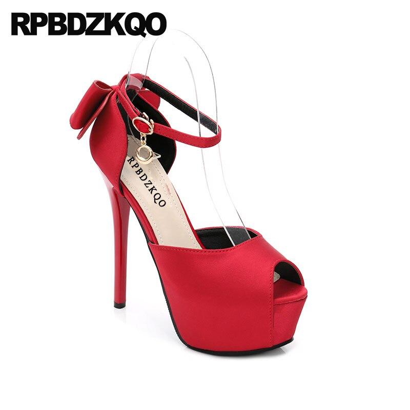 Ultra D'été Cher Toe Plate forme Noir Chaussures Cheville Cm 14 Fétiche Mince En Haute 4 rouge Femmes Peep Pas 34 Sangle Talons Rouge Métal Taille or Arc Extrême Pompes xwCEH5ACqa