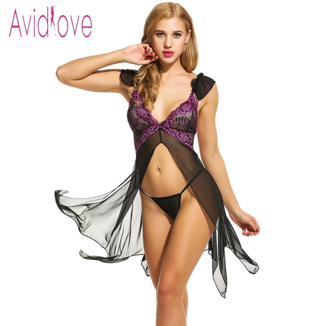 Avidlove Sexy Lingerie Babydoll Dress Erotic Nightdress Women Asymmetrical Open Front Nightwear Sheer Mesh Sleepwear Sex Costume