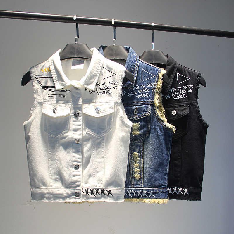 Новинка 2019 года; сезон весна-лето; подростковые джинсы; жилет с дырками и буквенным принтом; короткий джинсовый жилет; женские ковбойские куртки