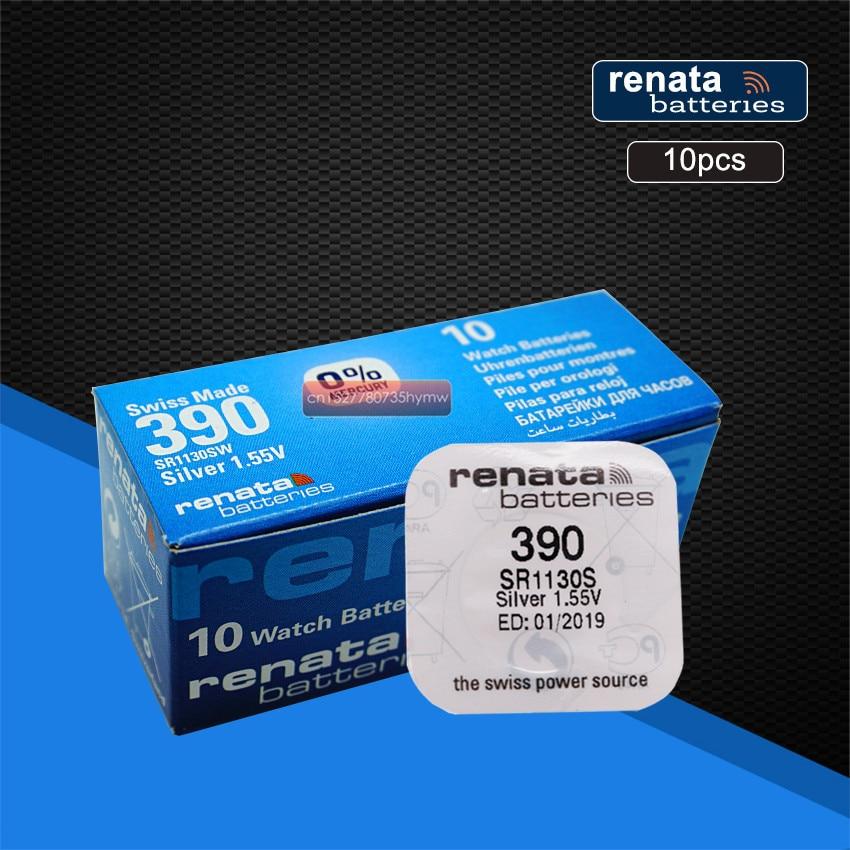 10 упаковок, перезаряжаемые элементы для часов Renata из оксида серебра 390 SR1130SW 1130 1,55 в, 100% оригинальный бренд renata 390, аккумулятор renata 1130