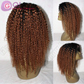 Родитель - ребенок ломбер парик кудрявый вьющиеся glueless полный парики два тона # 1bT # 30 короткие афро странный вьющиеся девственных человеческого волоса парик