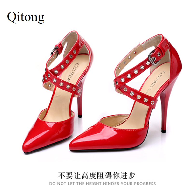 sexy rivets and patent leather design women s pumps 2017 New Patent PU Leather 10cm and 12cm Sexy High-heeled Pumps Fashion Rivets Nightclub Party Shoes Black White Red Women Shoes