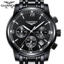 GUANQIN relogio masculino Fashion Business Men Luxury Brand Quartz Watch Mens Sport Watches Chronograph Luminous Wristwatch