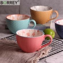 BORREY, китайская фарфоровая чайная чашка, Керамическая ручная роспись, кофейная чашка, Офисная чайная чашка, кофейная кружка с тиснением, кофейная кружка, кружка для молока, чайная чаша