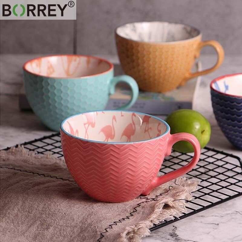 BORREY Chinese Porcelain Tea Cup Ceramic Hand Painted Coffee Cup Office Tea Cup Coffee Mug Embossed Coffee Milk Mug Tea Bowl ceramic