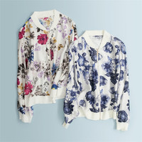 Чистый шелк с полушерстяные отделкой Женская мода с цветочным принтом тонкие молнии рубашки кардиган Топы Синий M/L оптом и в розницу
