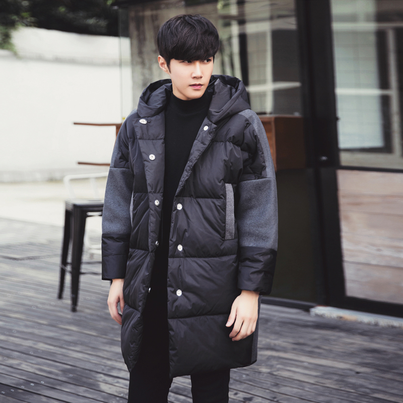 M-XXL!!! 2017 Winter cotton-padded jacket male with a hood medium-long wadded jacket outerwear loose winter thickening hooded 2015 new mori girl medium long thickening with a hood color block decoration cotton padded jacket wadded jacket