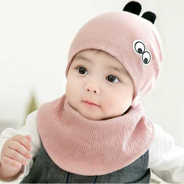 28c490d66a1 new Baby Hats Cotton Sweet Baby Hat For Girls Boys Infant Newborn Baby Cap  Winter Girls Baby Accessories Set (Hat+Bibs)