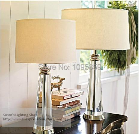 modern transparent k9 crystal table lamps lights bedroom white desk bedside lighting in table. Black Bedroom Furniture Sets. Home Design Ideas