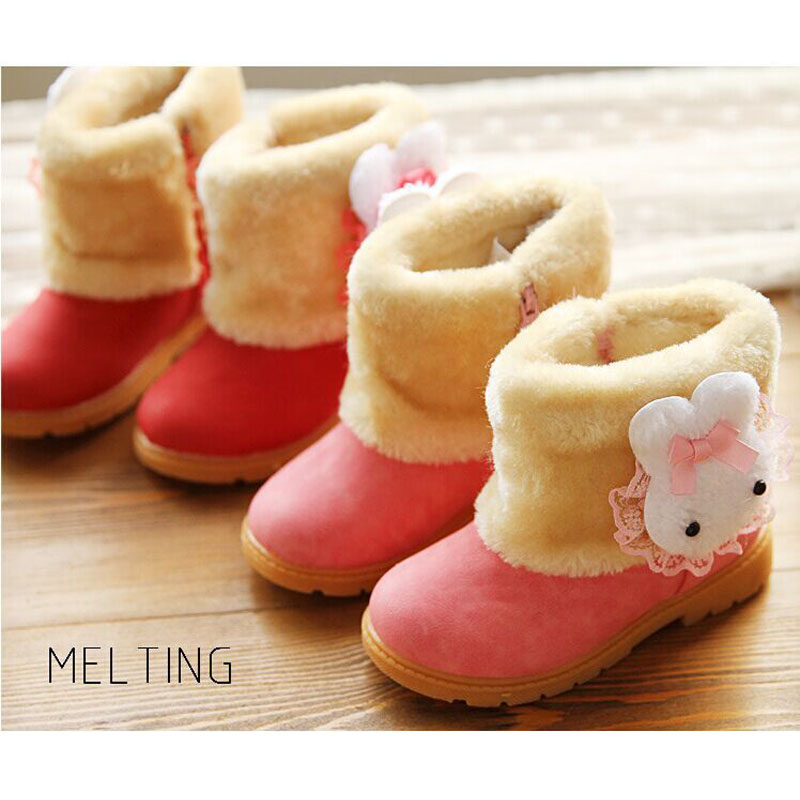Winter Children's Warm Snow Boots Girls Rabbit PU Leather Platform Winter Boots Princess Short boots Kid's Winter shoes