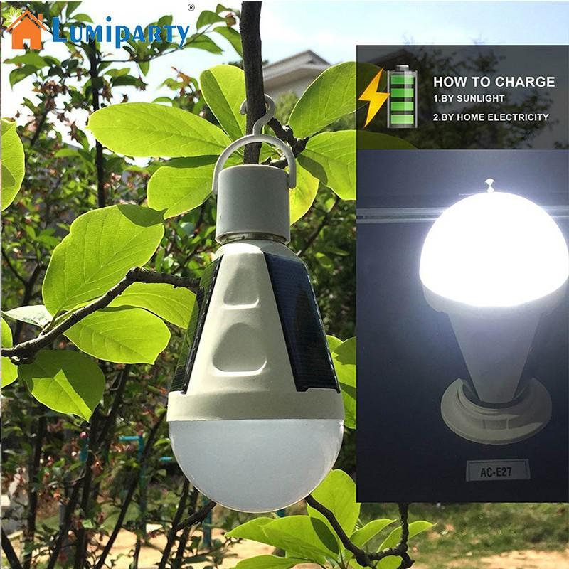LumiParty Solar Bulb 7W 400LM Portable LED Bulb Light E27 85-265V Intelligent Rechargeable Emergency Lighting Outdoor Camping