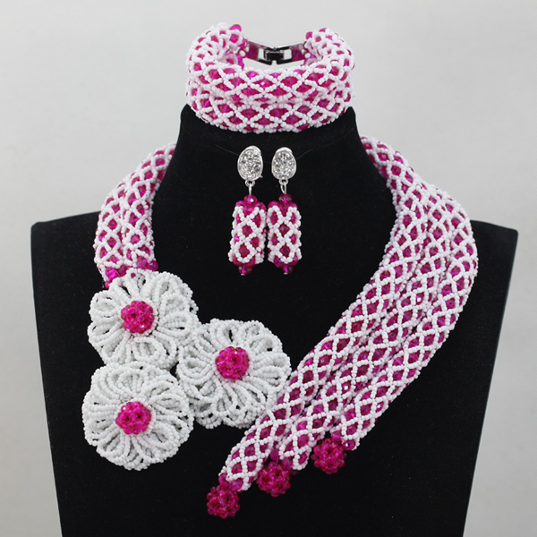 Exclusive Pink African Beads Layered Jewelry Sets White Big Flowers Brooch Costume Necklace Set Handmade Free Shipping QW620
