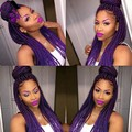 Fast Ship High Quality Long Purple Synthetic Hair wig Braided Lace Front Wigs twist Micro Braided Hair For African American Wigs