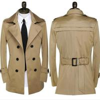 Khaki brown 2018 new designer autumn spring slim sexy trench coat men business outerwear mens trench coat clothing belt S 9XL