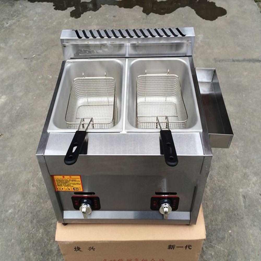 Comercial Cozinha 2 Cestas Fry DeepFryer Aço Inoxidável Gás Fritadeiras A Gás Industrial