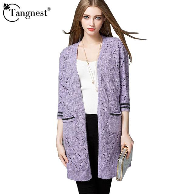Tangnest mulheres cardigan 2017 moda outono mulheres camisola estilo europeu cinza roxo cor sólida longo cardigan wwk524