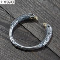 Ручной работы 100% 990 серебряный браслет с фигуркой орла удача Орел манжета браслет чистого серебра мужской браслет панк ювелирные изделия