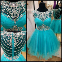 Fashion New Style 2019 Jewel Collar Cap Sleeves Delicate Beaded Green Tulle A Line Short Cocktail Dresses E0201