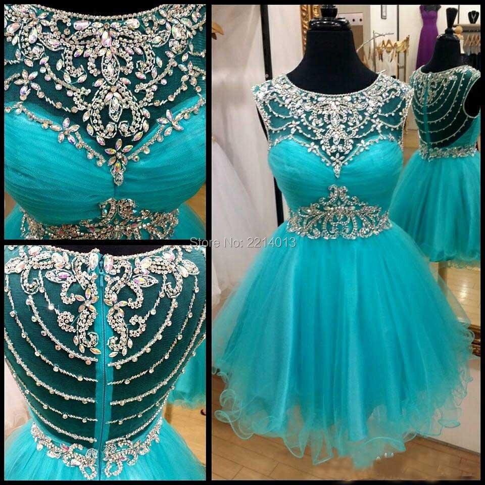 Mode Nouveau Style 2016 Jewel Collier Cap Manches Délicat Perlé Vert Tulle Une Ligne robes de Cocktail Courtes Robes E0201