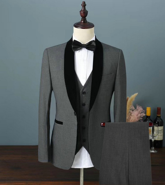 Custom Made Men Wedding Suits Single Breasted 3 Pieces (Jacket+Vest+Pants) Shawl Lapel For Men Slim Fit Wedding Groom Prom Suits