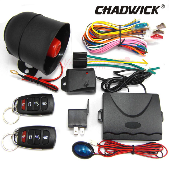 Cheap quality car alarm systems auto security 12v universal Keyless Entry Siren 2 Remote Control door lock 1way Burglar 8101 CHADWICK