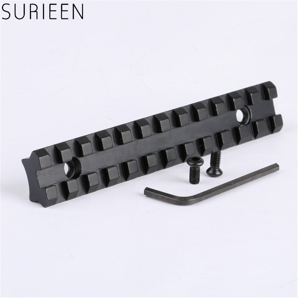 все цены на Tactical Dovetail Weaver Picatinny Rail Scope Mount Base with 20mm Mount 125mm Length and 12 Slots of Hunting Gun Accessories