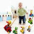 Varilla de empuje de empuje de madera rueda de ardilla de juguete de madera único animal andador bebé a aprender a caminar