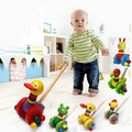 Wooden push push toy treadmill wooden single rod animal walker baby learn to walk