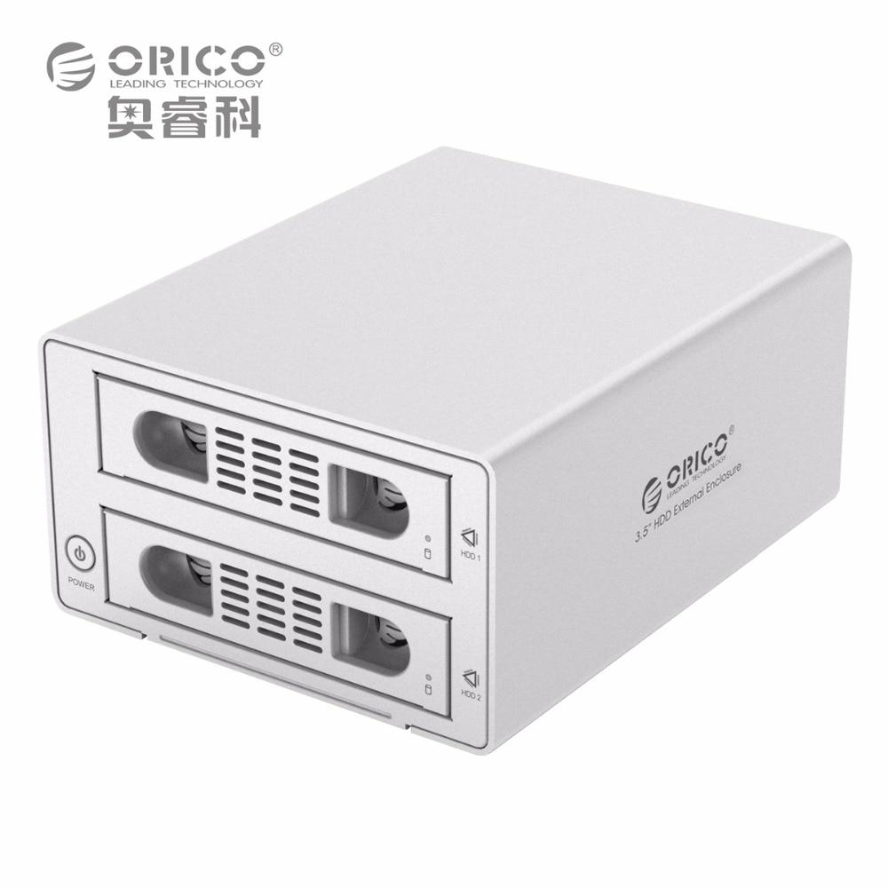ORICO 3529RUS3 Tool Free Aluminum 2 Bay 3.5 SATA2.0 USB3.0 HDD External Docking Station RAID Function 2bay HDD Case