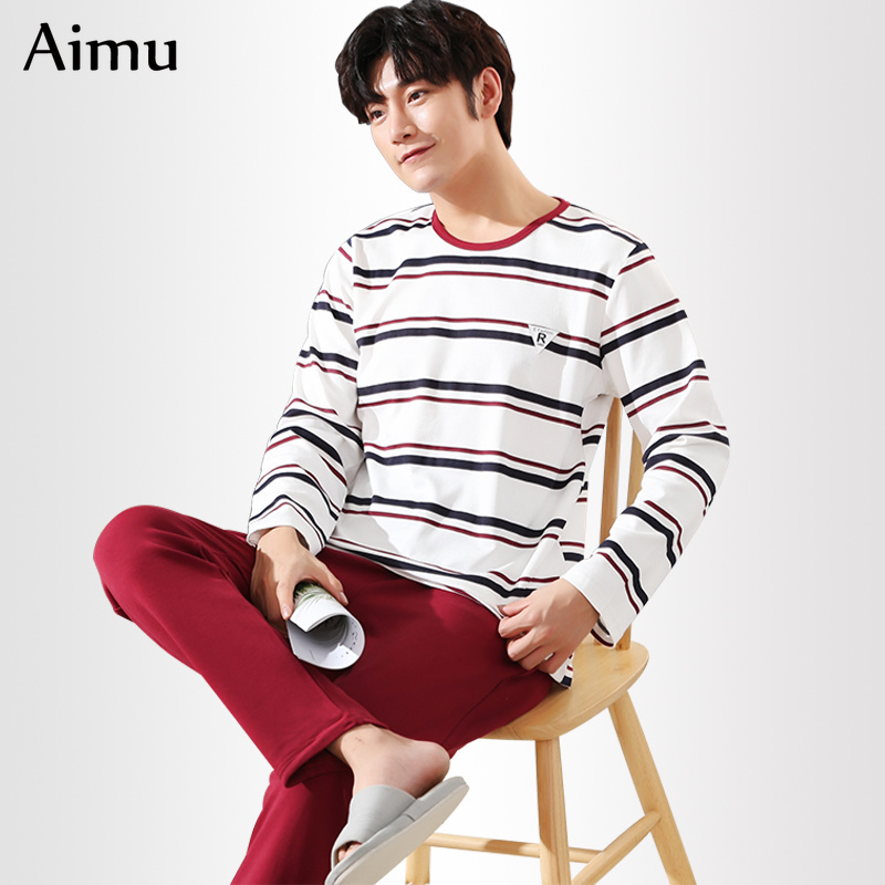 puls size 5XL Cotton   Pajama     Sets   for Men 2019 spring autumn Long Sleeve   pajamas   Casual Striped Pyjama Male Homewear pijama mujer