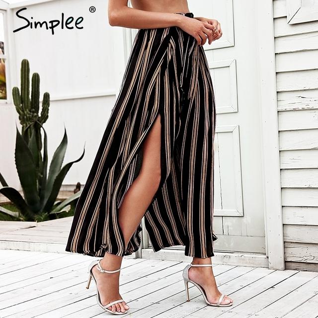 Simplee Split striped lady wide leg pants women Summer beach high waist trousers Chic streetwear sash casual pants capris female