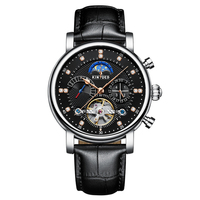 KINYUED Luxury 3ATM Water Proof Automatic Mechanical Watch Genuine Leather Skeleton Man Business Wristwatch Chrono/Moon