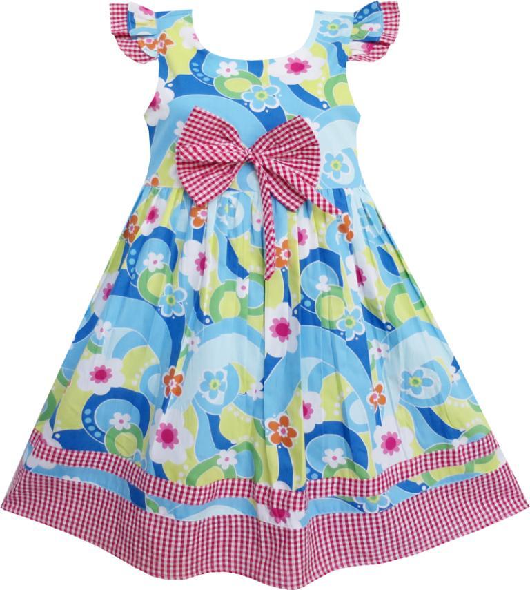 Flower Girl Dress Little Girls Blue font b Tartan b font Lined Party Kids Clothing Cotton