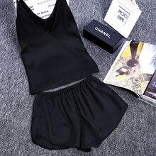 Solid Color Satin Cami & Short LaceTrim Pajama Fashion Crop Top & Shorts Set Honeymoon Nighties V-Neck Sleepwear
