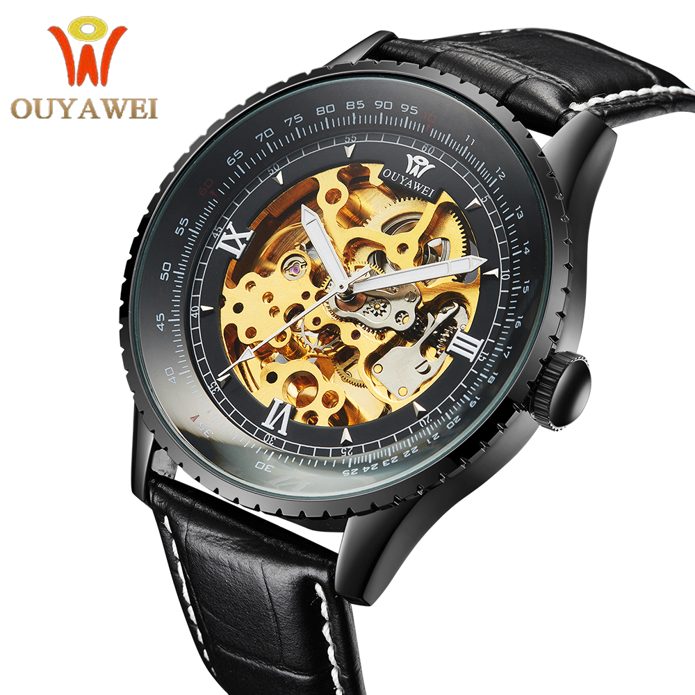 OUYAWEI Royal Carving Luxury Automatic Mechanical Skeleton Black Mens Wrist Watch Relogio ouyawei 1039 bg men s casual skeleton auto mechanical wrist watch black golden